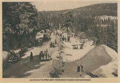 """Tysk postkort fra april 1940   Motivet er Humledal/Skaret kafé ved Sollihøgda og fotografen hat tatt bildet i aprildagene i 1940. Utgitt som postkort i Tyskland. """"Deutche truppen beim vormarsch durch Südnorwegen"""