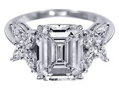 Emerald Cut Diamond Engagement Ring Marquise Petals - ES817ECWG