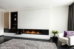 Another great fireplace example. Fireplace Feature Wall, Modern Fireplace, Fireplace Wall, Fireplace Design, Living Room Tv, Living Room With Fireplace, Home And Living, Living Spaces, Living Room Inspiration
