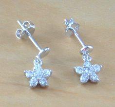 925 Silver Clear Cz Daisy Earrings/Small Silver Daisy Stud Earrings/Cz Earrings