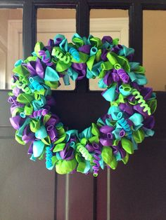 Monsters University Balloon Wreath... or just prefect colors just add a touch of pink and its awesome!!!