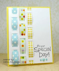 very clever - could do weaving with ribbon or paper strips...what a quick and easy card this would be to make.
