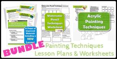 Painting Techniques BUNDLE Lesson Plans & Worksheets is part of Experimental painting Techniques - Create Art with ME Art Technique Lesson plans and worksheets, Learn to paint, Learn to Draw Watercolor Painting Techniques, Acrylic Painting Techniques, Picasso, Art Classroom Management, Art Handouts, Student Guide, Art Lesson Plans, Art Lessons, Worksheets