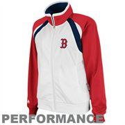 Majestic Boston Red Sox Ladies White-Red Therma Base Full Zip Performance Track Jacket
