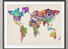 Typographic Text Map of the World Map, Art Print Poster - Canvas Wall Art, Canvas Prints, Art Prints, Map Canvas, Wall Mural, Quote Canvas, Framed Prints, Wall Maps, Quote Wall