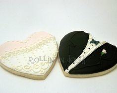 Wedding Cookies, Bride and Groom Cookies, Wedding Cake Cookies, Bride Cookies, Groom Cookies