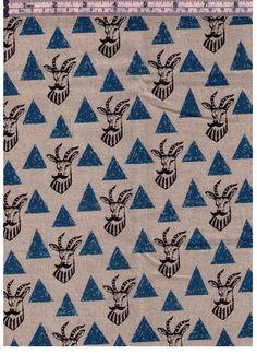 HALF YARD Kokka Echino Fall 2015 Impala with Mustache with Blue Triangles - JG-96400-402D - Cotton Linen by fabricsupply on Etsy