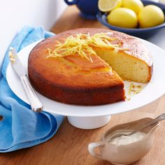 Lemon Yoghurt cake with syrup. The use of yoghurt in this recipe makes for a fluffier baked cake. Lemon Syrup Cake, Lemon Yogurt Cake, Lemon Drizzle Cake, Orange Syrup Cake, Lemon Recipes, Sweet Recipes, Cake Recipes, Dessert Recipes, Food Cakes