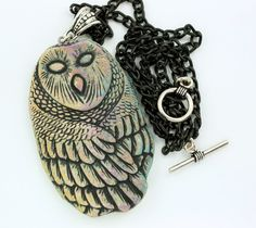 Stoneware pottery created using www.TheEnchantedGallery.com molds - Barn Owl Pendant Necklace by elementspottery on Etsy