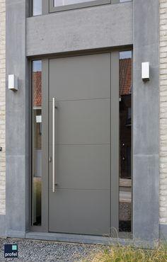 Home Entrance Decor, Front Door Entrance, House Front Door, House Entrance, Aluminium Door Design, Aluminium Front Door, Aluminium Windows And Doors, Modern Garage Doors, Modern Exterior Doors