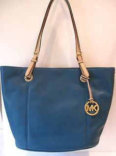 MICHAEL KORS NWT $278 LEATHER TOTE BAG TURQUOISE  JET SET LARGE SHOULDER SPRING!