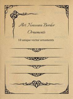 Art Nouveau Border Ornaments  #GraphicRiver        This vector set contains 10 unique swirly art nouveau borders in the following formats:  Vector EPS Vector SVG 300dpi PNG (minimum 5000×5000px and 8700×500px) 	 Ideal for your elegant flyer and poster designs, wedding invitations, valentine cards and more!