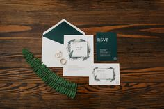 Romantic Downtown Lakeland Wedding on Kentucky Avenue | Lakeland Wedding Photographer | Emerald green invitation suite with greenery and ferns