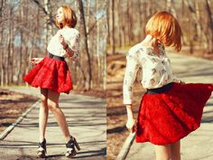 Red rose skirt and damn gurl those heels