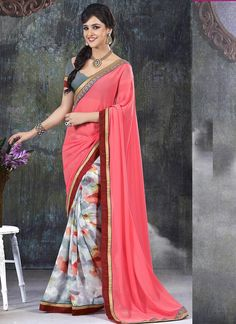Wholesale Pink Printed Sarees Collection at Wholesalesalwar.com  Buy our latest sarees catalog @ http://www.wholesalesalwar.com/sarees