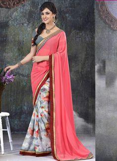 Wholesale Pink Printed Sarees Collection at Wholesalesalwar.com  Buy our latest sarees catalog @ http://www.wholesalesalwar.com/sarees
