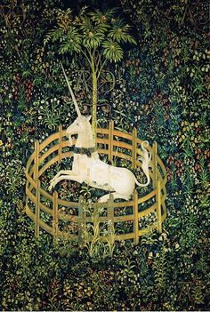 """""""The Unicorn in Captivity,"""" Medieval Tapestry at the Cloisters, part of the Metropolitan Museum, NYC"""