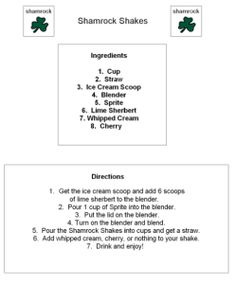 Shamrock Shake Visual Recipe by theautismhelper.com
