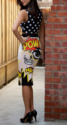 Dress Up Your Office Wear With This Classy Comic Book Pencil Skirt. I need this. Like need need this!!!