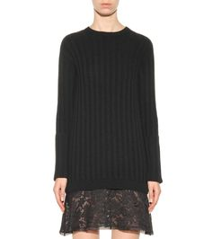 mytheresa.com - Lace-trimmed virgin wool and cashmere sweater dress - Luxury Fashion for Women / Designer clothing, shoes, bags