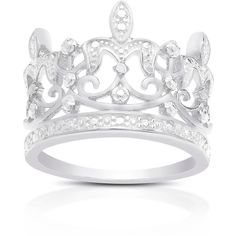 Finesque Sterling Silver Diamond Accent Crown Ring ($21) ❤ liked on Polyvore featuring jewelry, rings, silver, round diamond ring, band jewelry, wide rings, wide-band rings and long sterling silver rings
