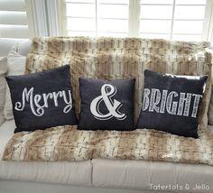 Merry & Bright Pillows! (Free Printables!)
