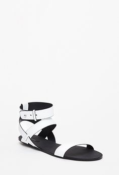 Strappy Faux Leather Sandals   Forever 21 - 2049258822