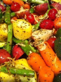 Herb coated oven roasted vegetables