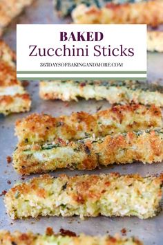 Coated in two different kinds of bread crumbs, Italian herbs, and Parmesan cheese, these Baked Zucchini Sticks make a quick and easy side dish, snack, appetizer, or even dinner. Serve plain, with your favorite marinara or ranch dressing. Quick And Easy Appetizers, Easy Appetizer Recipes, Yummy Appetizers, Quick Easy Meals, Appetizer Ideas, Casserole Recipes, Soup Recipes, Snack Recipes, Yummy Recipes