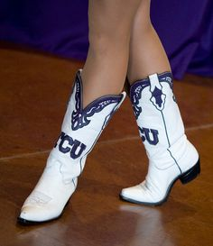 Purple and white TCU boots. Tcu Cheerleaders, Cheerleading, Drill Team Pictures, James Monroe, Purple Boots, Cinderella Shoes, Dance Stuff, All Things Purple, In Pantyhose