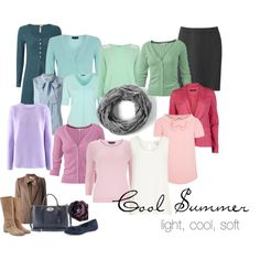 """Cool Summer Color Palette"" by simplycrimson on Polyvore Soft, sweet colors for a cool summer's wardrobe."