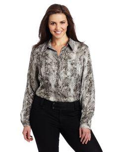 226beafbb4419 AK Anne Klein Women s Plus Size Snake Print Camp Shirt