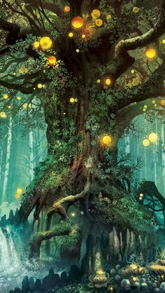 QCWN Printing Fantasy Plant Magical Forest Tapestry Magic Landscape Art for Home Decor Wall Hanging Fantasy Art Landscapes, Fantasy Landscape, Fantasy Artwork, Landscape Art, Fantasy Paintings, Fairy Paintings, Fantasy Places, Fantasy World, Magical Tree