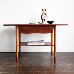 One from the master...wonderful teak & beech side table with drawers by Borge Mogensen for Soborg Mobler, Denmark.
