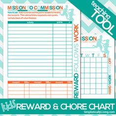 free printable kids commission reward and chore chart - Printable Pictures For Kids