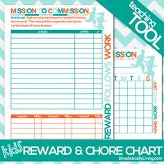 Free Printable Kids Commission Reward and Chore Chart