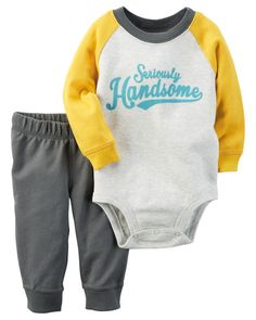 Complete with cozy French terry pants and a seriously handsome bodysuit, he's playdate-ready in this 2-piece set.