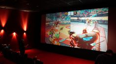 We rented a cinema hall to play some games with our fans.