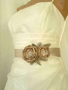 Handcrafted Fabric Champagne, Khaki Wedding dress Sash Belt. $39.50, via Etsy.