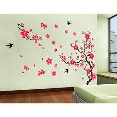 Diy Casa Decoração Da Flor Da Ameixa Prunus Mume Flores Swallow Vista Bonita De Primavera Diy Adesivos De
