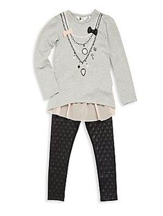 Petit Lem Little Girl's Two-Piece Heathered Top & Quilted Pants Se