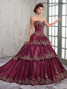 Ck lace-up closure. D matching bolero. Marys quinceanera collection dress m. Colors dark burgundy/gold or ivory/gold Dressy Dresses, 15 Dresses, Couture Dresses, Formal Dress, Quinceanera Dresses, Red Wedding Gowns, Boho Wedding, Quinceanera Collection, Mary's Bridal