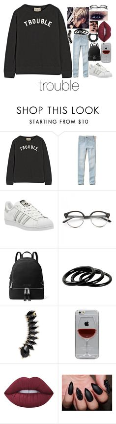 """""""trouble"""" by aiyanaarnold ❤ liked on Polyvore featuring Sea, New York, Hollister Co., adidas, Concord, MICHAEL Michael Kors, Furla, Jules Smith, Reyes and Lime Crime"""