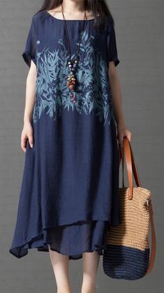 ... Plus Size Daily Weekend Chinoiserie A Line Loose Dress - Botanical Blue 6102e8711e8