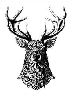 Poster 30 x 40 cm: Ornament Hirsch von BIOWORKZ - hochwertiger Kunstdruck, neues Kunstposter