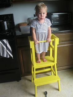 I love this ikea footstool hack! Total cost of materials is $15/stool + $15/extra materials. It's smaller and $100+ less expensive than a learning tower and the additional railing makes it much more sturdy for long concentrated standing for kitchen helpers. <3
