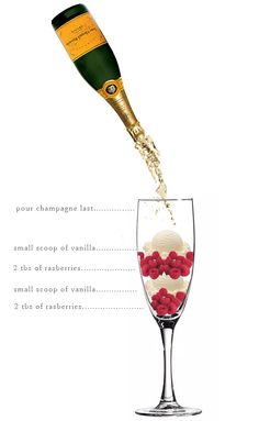 raspberries, vanilla ice cream and champagne.It's a champagne float! This looks delicious! Party Drinks, Cocktail Drinks, Fun Drinks, Yummy Drinks, Cocktail Recipes, Alcoholic Drinks, Beverages, Yummy Food, Champagne Cocktail