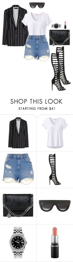 """""""pinstripe summer"""" by theoniehussey ❤ liked on Polyvore featuring Haider Ackermann, prAna, River Island, Paul Andrew, STELLA McCARTNEY, CÉLINE and Rolex"""