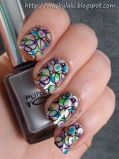 so cute - in case there's no tutorial with this....paint base coat...let dry, add diff. colour dots (large and small)...let dry, dip diff. size straws in black paint and press onto nail...add top coat...voila!