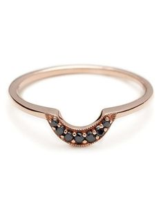 Possible final addition to the wedding/engagement stack?  // Anna Sheffield Rose Tiny Crescent Band